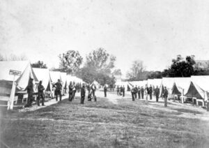 Military camps with tents.