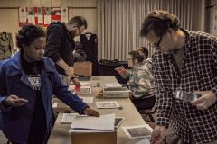 Felicia Bevel and David Sheffler documenting archives with students