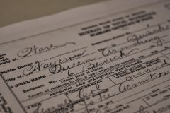 Detail of death certificate for Queen Armstrong