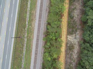 Drone view of railroad tracks