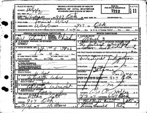 Death Certificate for Louise Ware