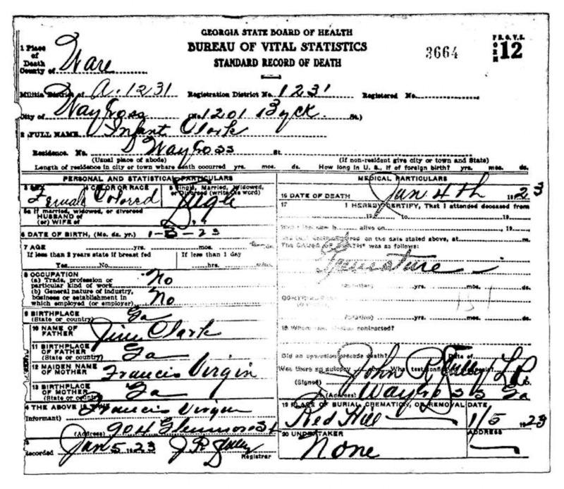 Official death certificate for Infant Clark. Identifier number 3664.