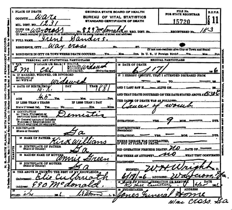 Official death certificate for Irene Sanders. Identifier number 15720.
