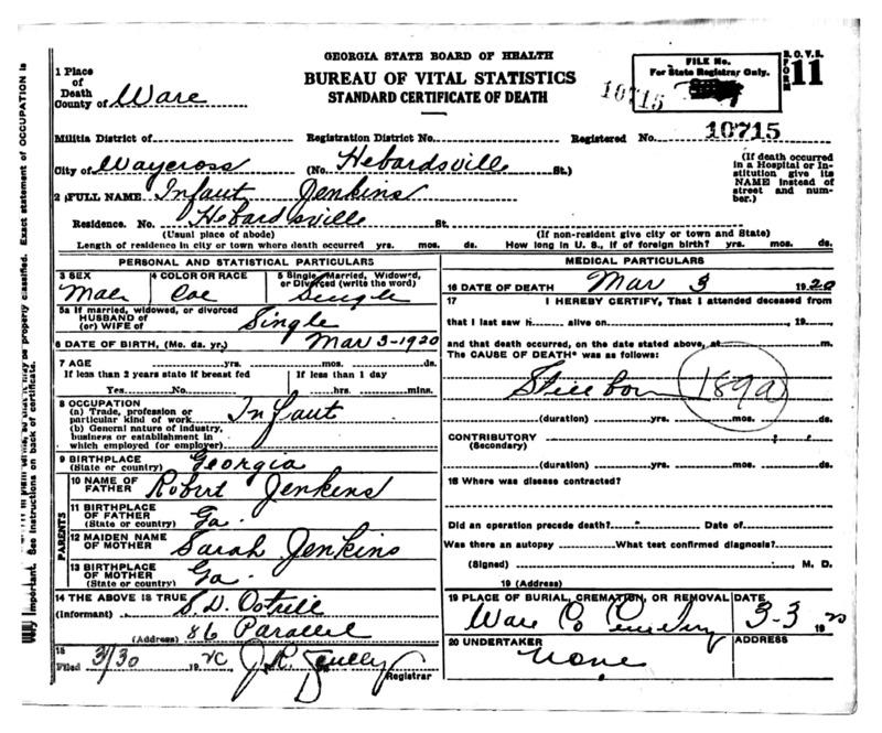 Official death certificate for Infant Jenkins. Identifier number 10715.
