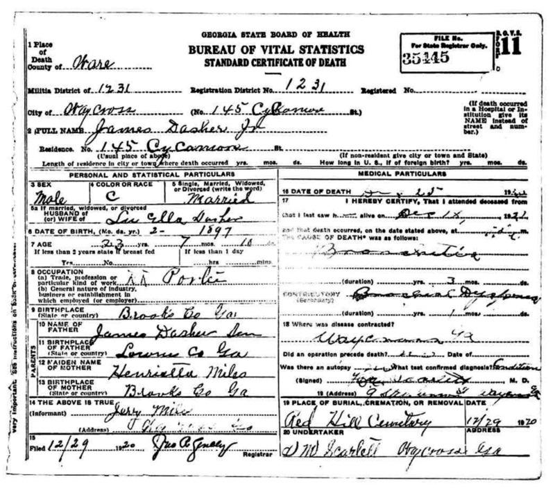 Death Certificate for James Dasher Jr. Identifier Number 35445