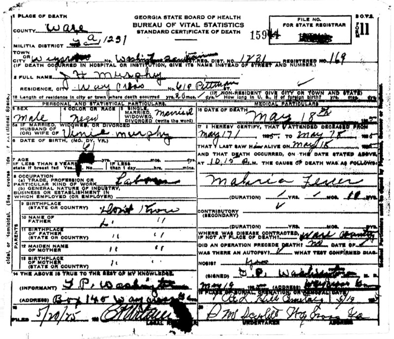 Official death certificate for J. H. Murphy. Identifier number 15944.