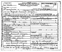 Official death certificate for Infant Emmet Virgin. Identifier number 27071.