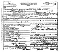 Official death certificate of Inez Oliver. Identifier number 31806.